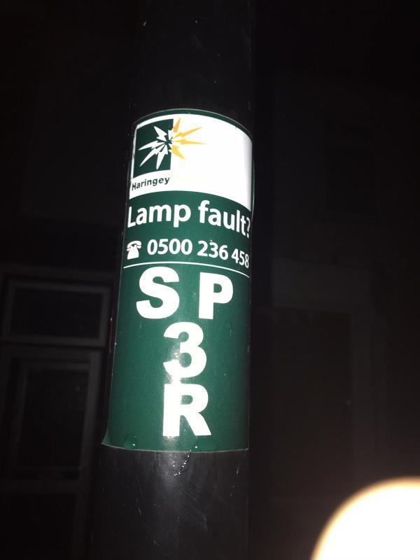 Street lamp not working -13 Shropshire Road, London, N22 8LX
