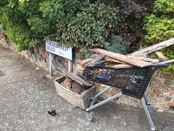 Basket of wood, trolley of wood -18 Niederwald Road, London, SE26 4AD