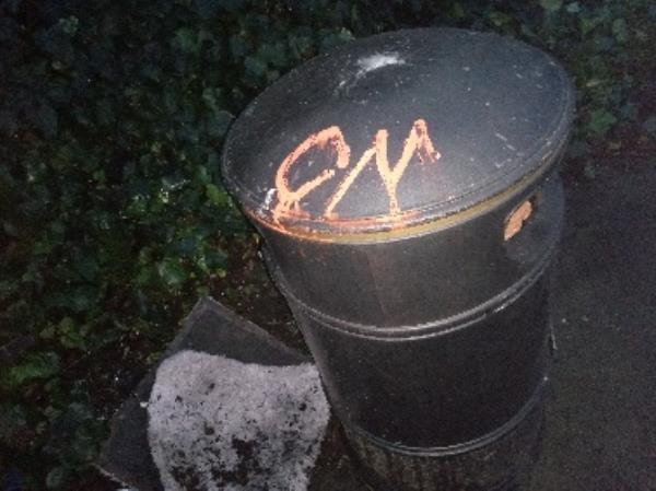Graffiti on the bin -57 Wolseley Street, Reading, RG1 6AZ