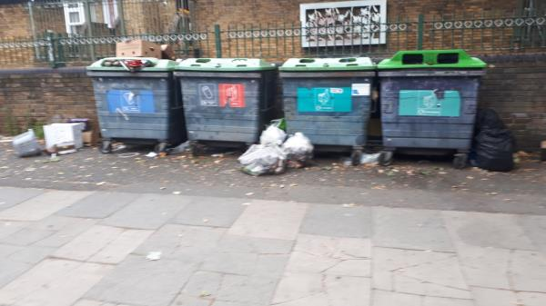 Rubbish and cardboard dumped adjacent to the recycling bins opposite the Boleyn medical centre -13 Barking Road, East Ham, E6 3BD