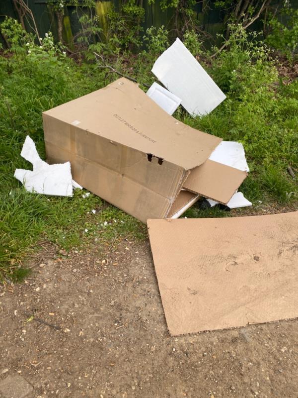 Dumped cardboard and polystyrene -6 WALPOLE, Tottenham, N17 6BJ