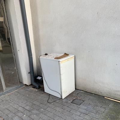 Fridge dumped on street. -72-74 De Beauvoir Crescent, London, N1 5SB