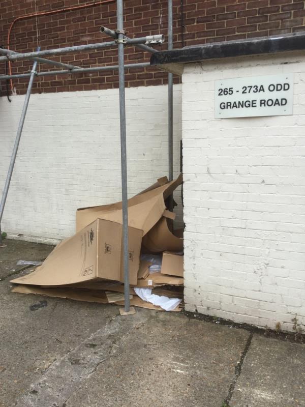 Cardboard fly tip -306 Grange Road, Plaistow, E13 0HF