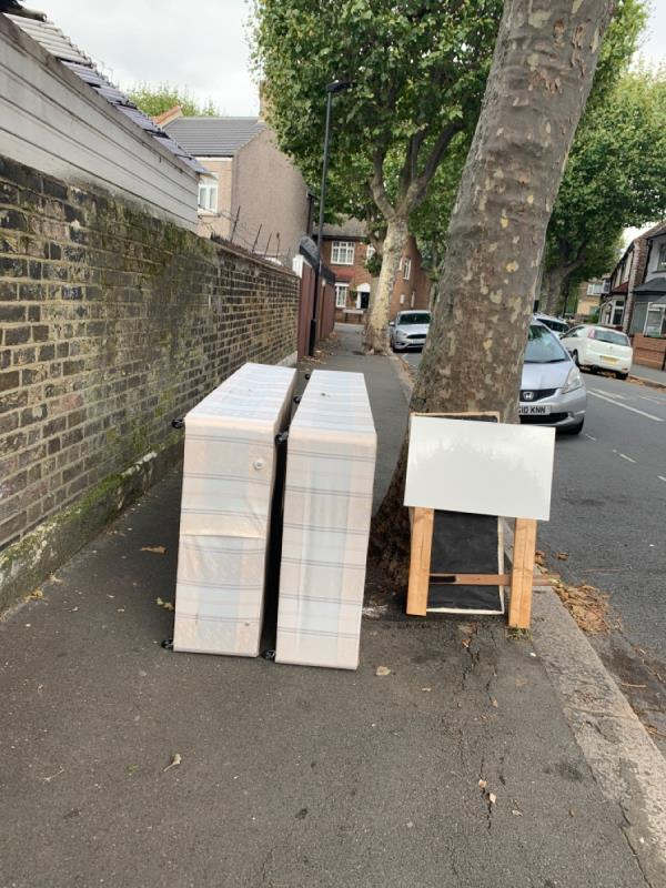 Bed and furniture dumped -34 Mitcham Rd, London E6 3LU, UK