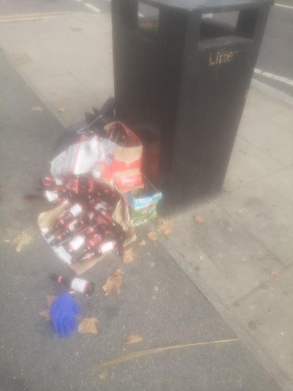 Outside pharmacy by the bin on Plashet Rd -Madeena Stores, 73 Plashet Rd, London E13 0QA, UK