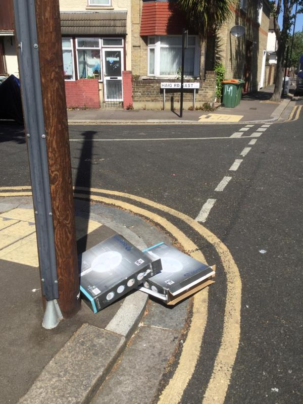 Junction of haig road east cardboard fly tip -43 Inniskilling Road, London, E13 9LD