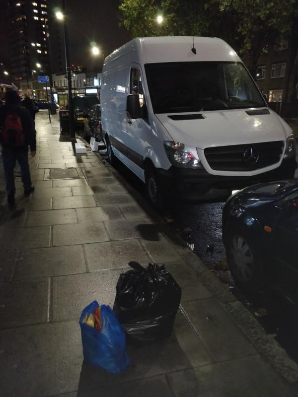 Dumped bags of rubbish on the pavement beside 94 Leytonstone Road E15-96 Leytonstone Road, London, E15 1TQ