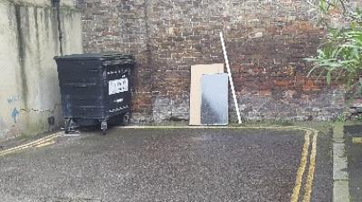 Rubbish dumped by 11 Gould Terrace workmen... again!-11 Gould Terrace, London, E8 1HY