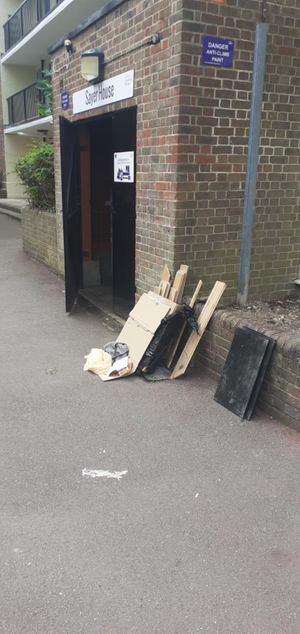 broken furniture and wood -Sayer House Turnham Road, Brockley, SE4 2HT