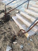 Broken/badly damaged handrail on steps leading down to La Mare beach -Public Toilet La Mare Slipway, La Grande Route de la Côte, St. Clement, Jersey,