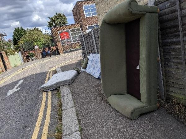dumped sofa and mattresses on newsam avenue n15 - partly on the road-2 Newsam Avenue, London, N15 5JJ