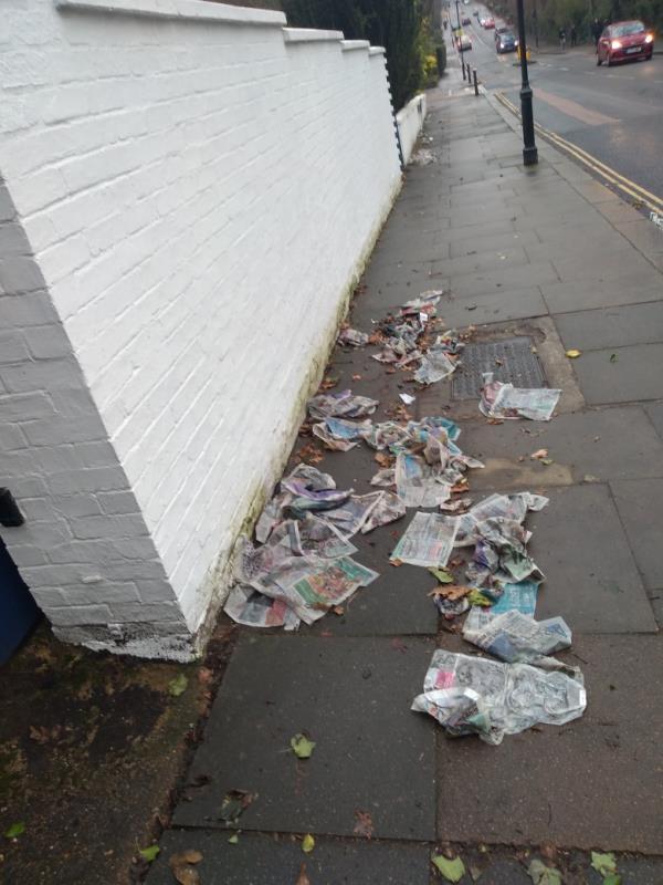 Rubbish strewn on pavement outside no. 20 Stanhope rd. N6-47 Avenue Road, London, N6 5DR
