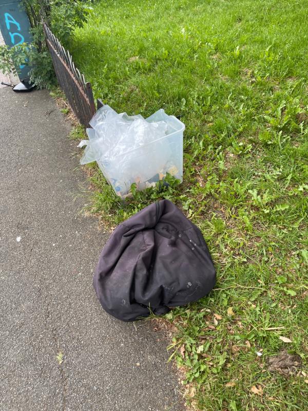 Plastic box and rubbish -48 Stephenson Road, London, W7 1NW
