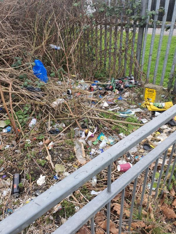 Full of rubish in those bushes and no one is responsible?-Barking Road, East Ham, IG11 8BB