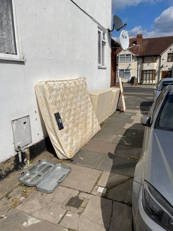 Mattress, bed base, headboard, bike frame and bag of litter -357 Allenby Road, London, UB1 2HE
