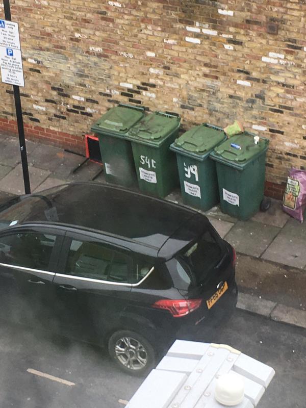 Rubbish both ends of bins again. Waterloo road E6 1AP Side of Coffee Hut-37/39 Plashet Grove, East Ham, E6 1AD