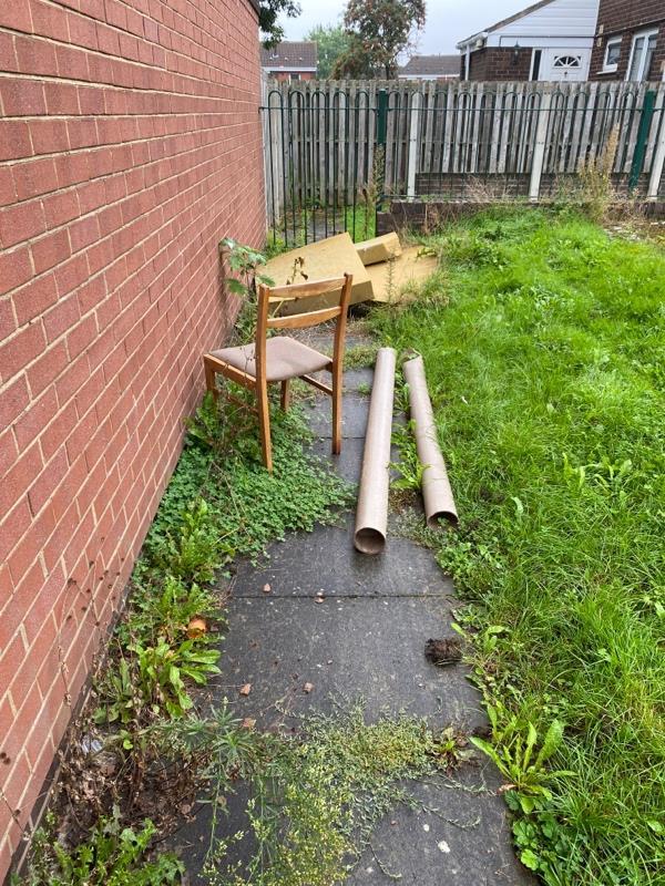 Chair sponge and cardboard rolls-104 Eastney Crescent, Wolverhampton, WV8 1XW