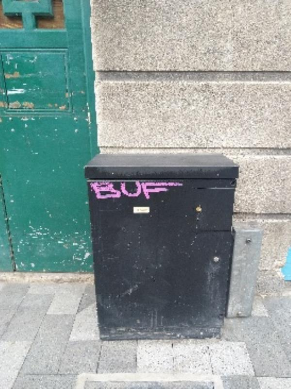 graffiti on electrical box on Charles Street oppisit next to regency stationers-4-5 Hannam Court Charles Street, Leicester, LE1 3FS