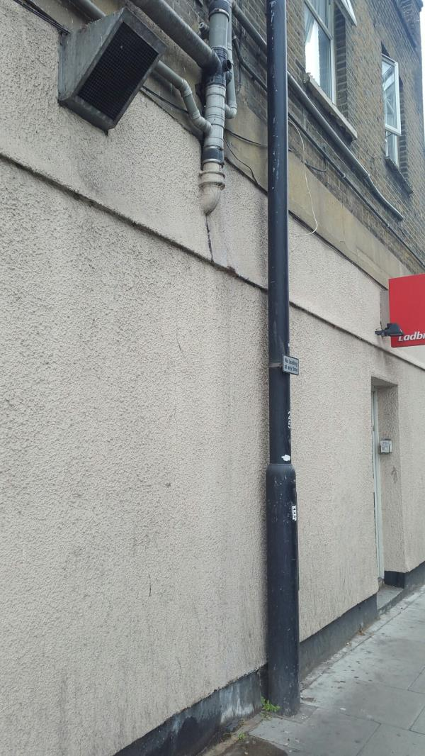This leakage from a private foul drainage  has been ongoing for the oast 2 years. It is intermittent and seems to occur when the WC/bath is being used. Strange that it has not been noticed by the council. Is it OK for pedestrians to be exposed to foulwater? image 1-Morgan Street, Canning Town, E16 4QA