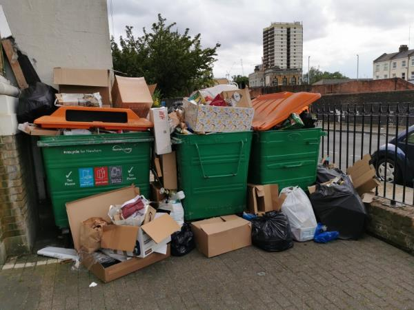 Our recycling collection is overdue again and this is the result. Can we get the recycling collected on time, please?-Gazelle House, 8 Manbey Park Road, London, E15 1EQ