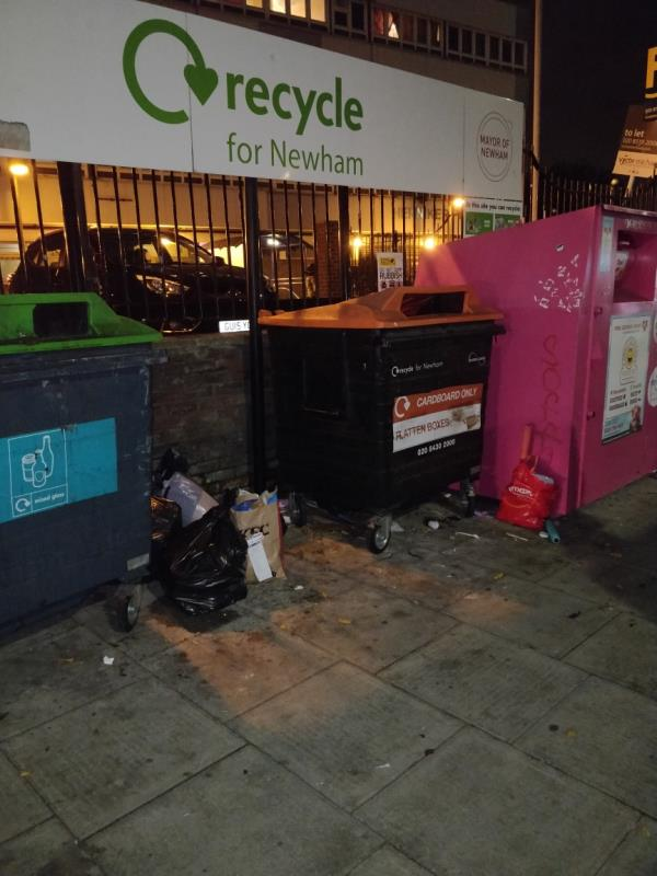 Dumped rubbish on the pavement in front of Henniker Point Leytonstone Road E15-Henniker Point Leytonstone Road, London, E15 1JY