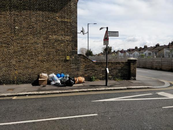 Flytipping at the corner of Albert Square and Forest Lane E15-40 Forest Lane, London, E15 1HA
