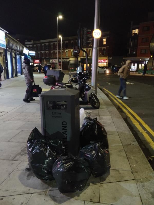 Dumped black bags of rubbish on the pavement beside 47 Leytonstone Road E15 -43a Leytonstone Road, London, E15 1JA