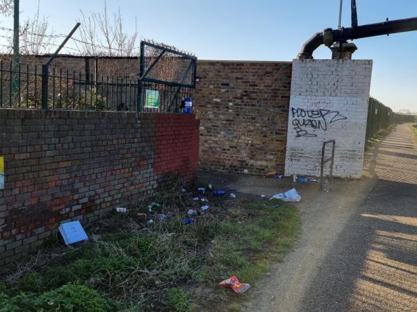 Grafitti on wall by canal next to school footpath-283 Beaconsfield Road, London, UB1 1DD