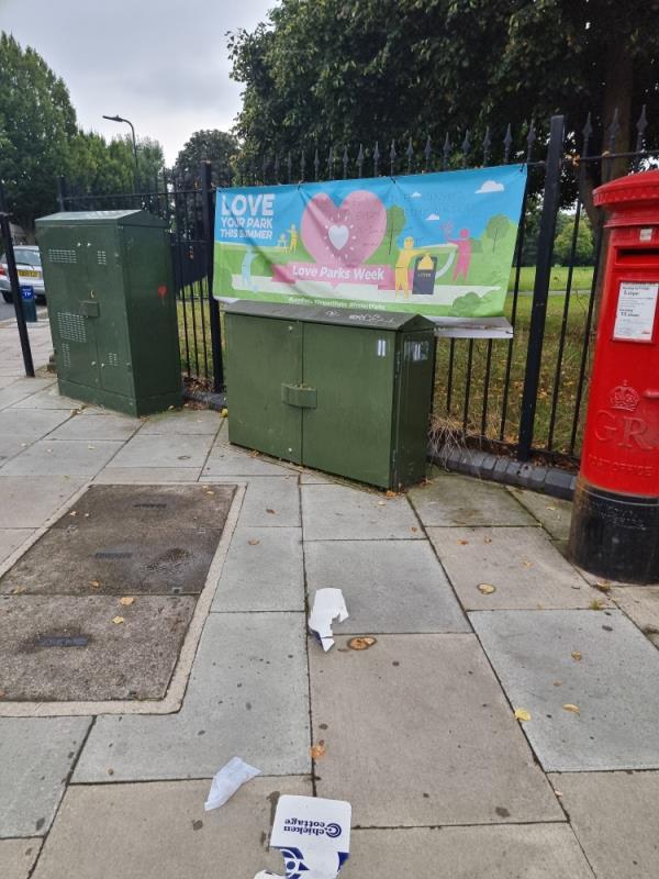 Old banner on railings-54 Green Drive, London, UB1 3AY