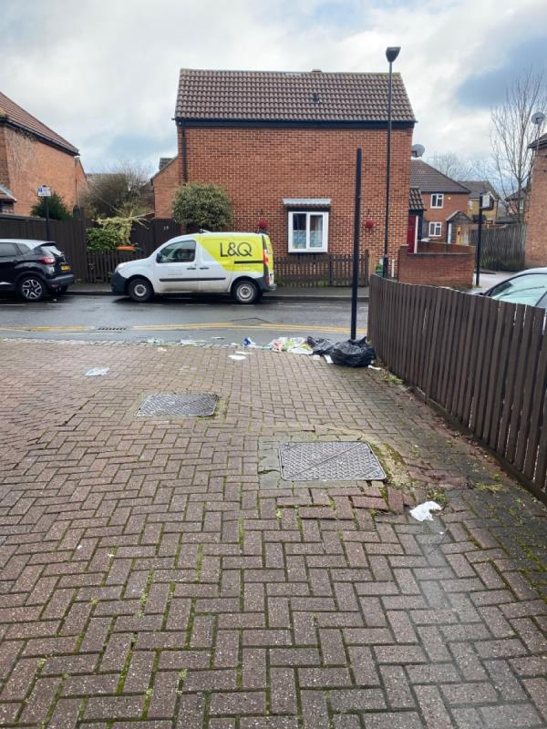 Bags of rubbish strewn across road-16 Denny Close, London, E6 5SH