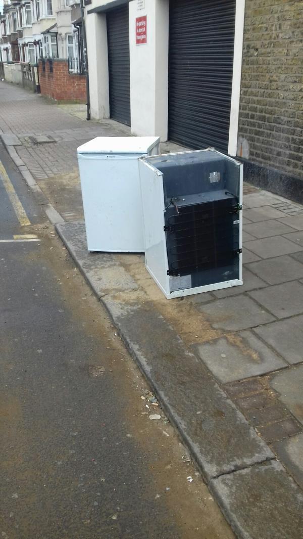 2 small fridges dumped near 157 Green Street junction with Monega Road E7 -159 Green Street, Green Street East, E7 8JE
