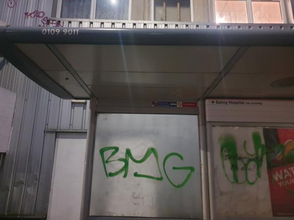 on bus stop-The Triangle Centre Uxbridge Road, London, UB1 3EJ