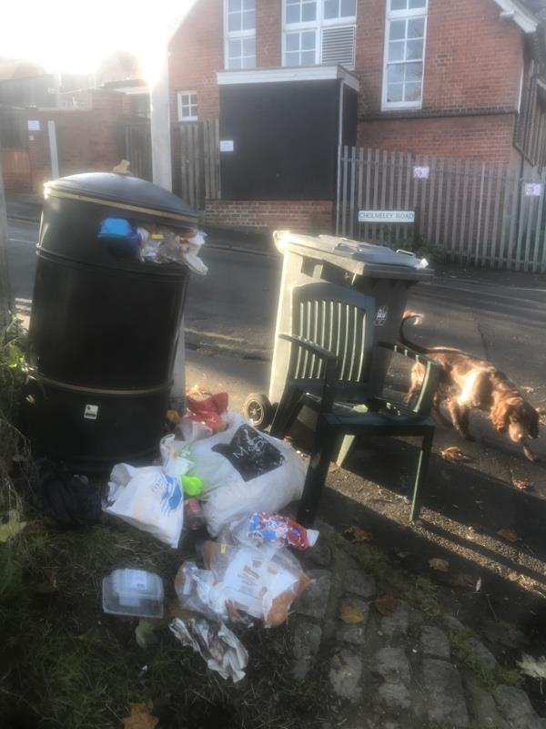 Overflowing bin, flytipped rubbish and an abandoned wheelie bin -346 Kennet Side, Reading, RG1 3EA