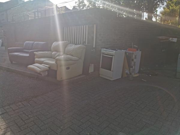 House clearance resulted in entire flat dumped on street. Including sofas, cooker, bed, personal items. This is being added to daily and today two heroine addicts used the sofas to shoot up. I have two young children the other side of the wall. This needs to be a priority to remove.  image 1-2 Saint James' Road, London, E15 1RL
