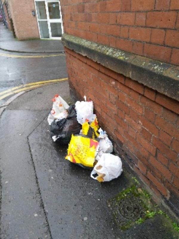 Rubbish damped opp. magistrate Court-14 Rupert Street, Leicester, LE1 6BU