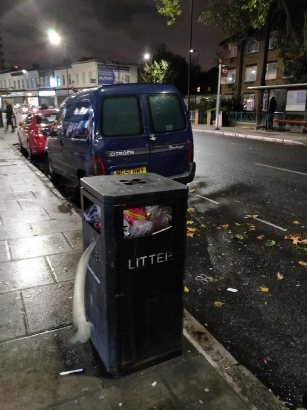 Overflowing litter bin box at 92 Leytonstone Road E15-92 Leytonstone Road, London, E15 1TQ