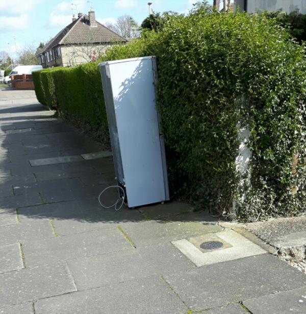 Fridge/freezer left on footpath outside 12 Sturdee Road.-21 Sturdee Road, Leicester, LE2 9EB