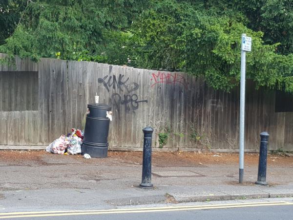 Litter bin full of domestic waste -59 Western Elms Avenue, Reading, RG30 2AL