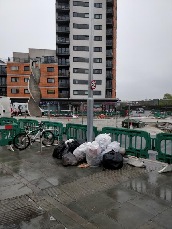 Black bags of rubbish on the pavement beside 47 Leytonstone Road E15-43a Leytonstone Road, London, E15 1JA