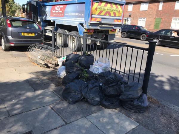 Opp 201 Southend lane large amount of black sacks and clear sacks -27 Sedgehill Road, Bellingham, SE6 3QR