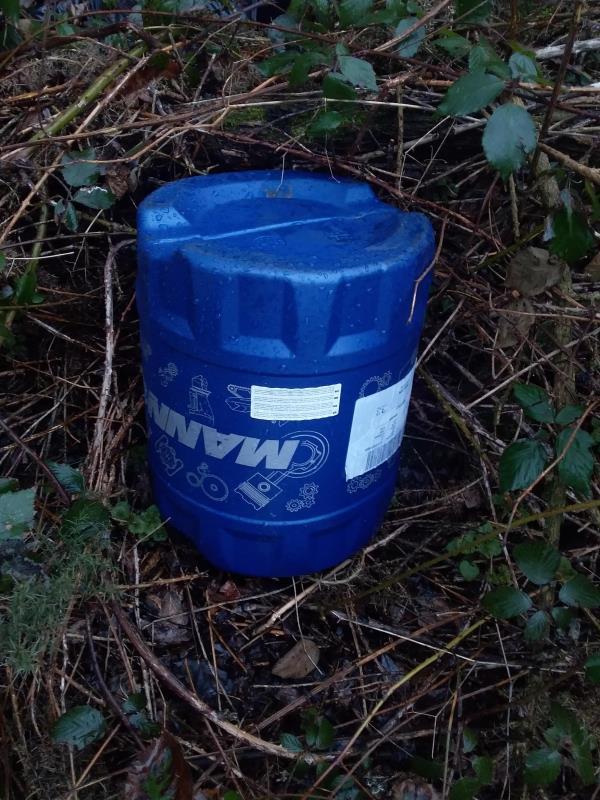 Barrrel of hydrolic fluid and black bags of waste-1 Ively Rd, Farnborough GU14 0JN, UK