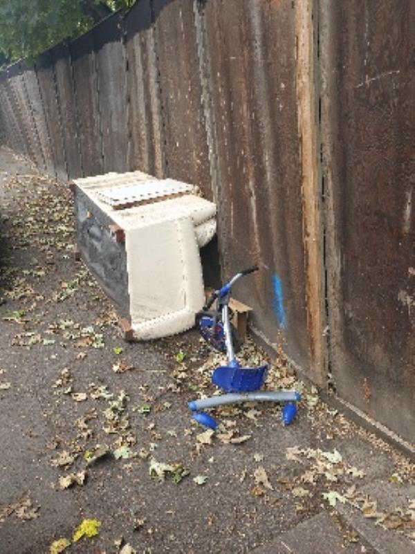sofa dumped opposite number 19 on Pembroke Street LE5 0FA -41 Pembroke Street, Leicester, LE5 0EG