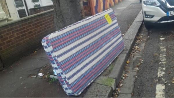 A mattress dumped outside 18 Credon Road -22 Credon Road, London, E13 9BJ