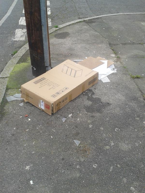 Please clear  box and broken glass-50 Oakridge Road, Bromley, BR1 5QN