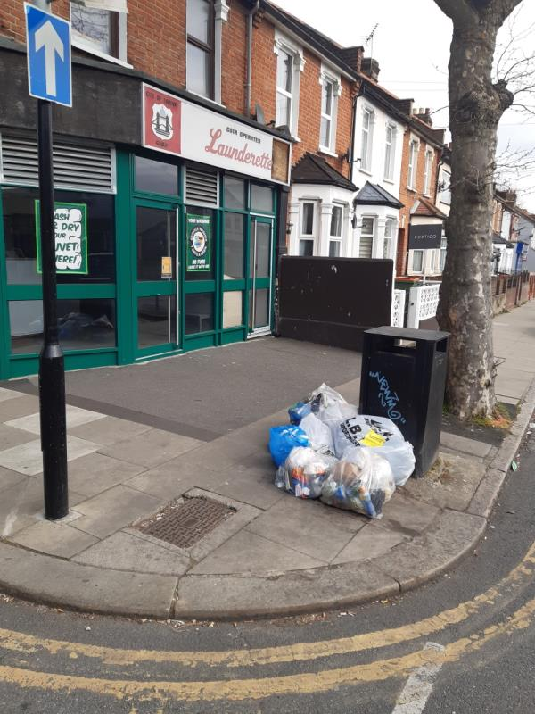 2 x sacks domestic waste -236 Central Park Road, East Ham, E6 3DL