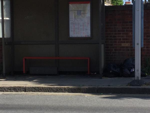Opp 116 central park rd near bus stop, black bags-71 Central Park Road, London, E6 3DW