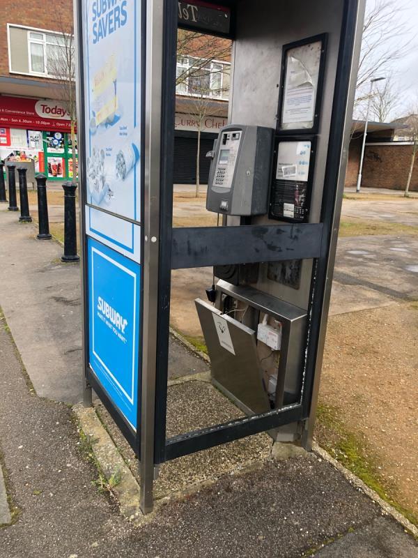 Damaged phone box-489 Northumberland Avenue, Reading, RG2 8LZ
