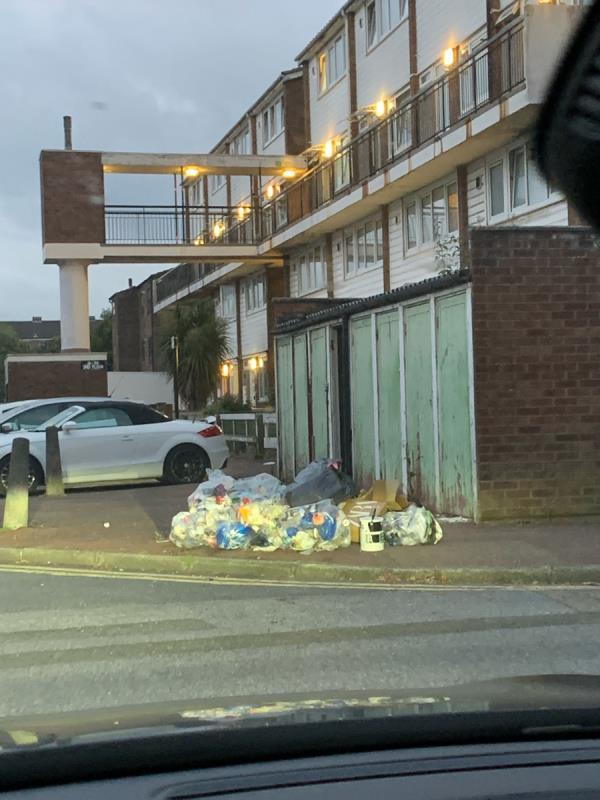 Bags of rubbish -18 Rochford Cl, London E6 1QR, UK
