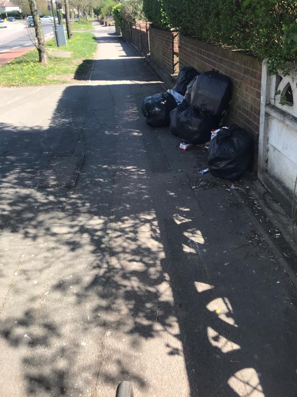 Dumped black sacks are located outside 149 Mandeville Road UB5 -149 Mandeville Road, London, UB5 4LZ