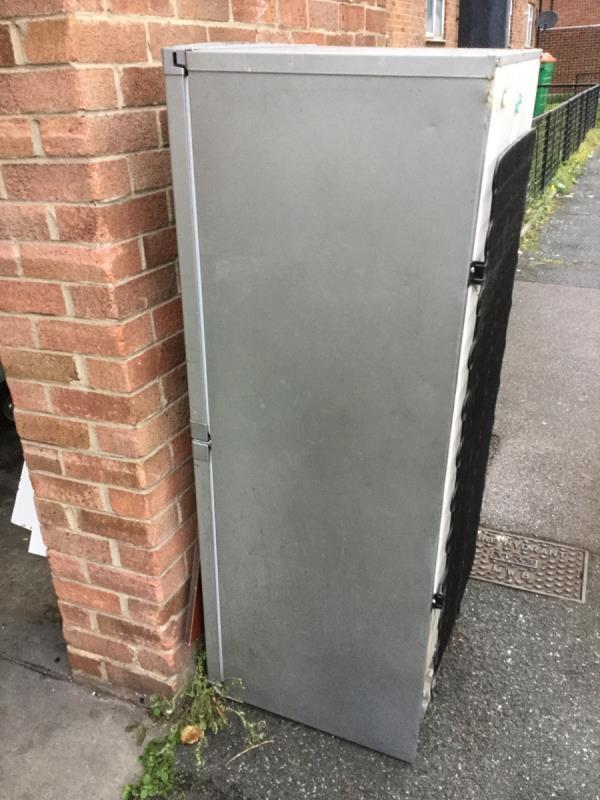 At rear next to car park area. Fridge freezer -186 Henniker Rd, London E15 1JS, UK